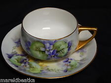 ANTIQUE ROSENTHAL DONATELLO PORCELAIN HAND PAINTED  PURPLE VIOLET CUP AND SAUCER