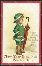 Little Boy Happy New Year Greetings Clapsaddle Relief HOLE postcard QT5898