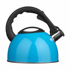 2.5L Whistling Kettle Blue For Kitchen Tea Coffee Easy Use Grip Elegant Look New