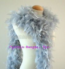 "65g Silver Grey Chandelle Feather Boa, 72"" long A+++ cynthia's feathers, NEW!"