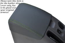GREEN STITCH FITS MITSUBISHI L200 ANIMAL 2006-2010 GREY LEATHER ARMREST COVER