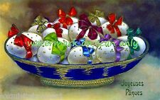 Vintage~Colorful ~ French~ Easter Eggs with Bows~ Basket~ NEW Large  Note Cards