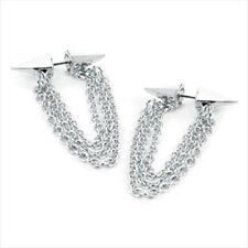 SILVER TONE EARRINGS stud spike studded chain PUNK ER26334 DANGLING