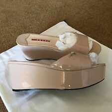 "Authentic Prada Wedge  Patent Leather Sandals Slides 36 36.5 6 6.5 ""Perfect"""
