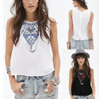New Ladies Summer Sleeveless Shirt Chiffon Loose Vest Tank Top Blouse Size 6-16