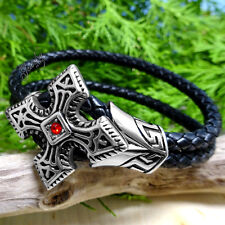 Stainless Steel Cross with Ruby Double Braided Black Leather Men's Bracelet