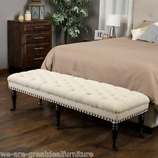 Elegant Tufted Ivory Fabric Ottoman Bench with Caster Legs & Nailhead Accents