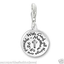 "Clip on ""With God All Things Are Possible"" Religious charm"