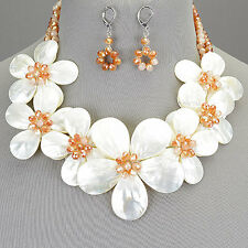 Topaz Colored Seed Beaded Flower Statement Necklace White Shell With Earrings