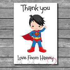 Personalised Superhero Kids Thank You Card / Notes  - 12 with Envelopes s2