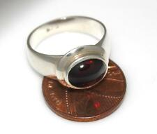 PLAIN 925 SILVER  GARNET GEM SET LADIES RING Size UK P , US 7.75 / G 62