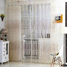 Voile Slot Top Net Curtain Floral Window Bedroom Curtains New