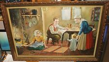 DUTCH FAMILY IN THE KITCHEN LARGE ORIGINAL OIL ON CANVAS FOLK PAINTING UNSIGNED