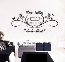 Keep Smiling Wall Art Quotes Removable Wall Stickers Lettering Decal Mural Decor
