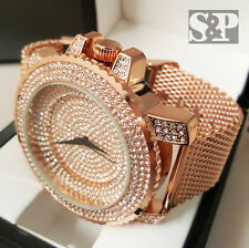 Men Rick Ross Bling Iced Out Rose Gold PT Stainless Steel Mesh Band Rapper Watch
