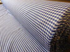 5mts mozzafiato di alta qualità italiana Lino/Cotone Piccole GINGHAM TESSUTO CHECK BLU
