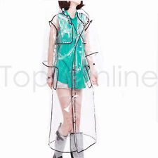 Transparent PVC Long Raincoat Runway Unisex Womens Girls Men Clear Rain Coat