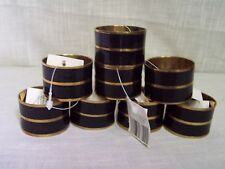 Black Enamel Brass Napkin Rings Set of 8
