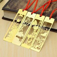 1pcs Orchid Plum Bamboo Frower Metal Bookmark Note Memo Paper Marker Stationery