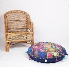"""Vintage Cotton Round Pouf Patchwork Ottoman 32""""Embroidered Footstool Cover"""