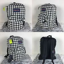 2016 Jansport HIGH STAKES Backpack White Black Houndstooth School backpack