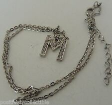 "Estate Fashion Silver Plated Rhinestone Studed ""M"" Initial Pendant Necklace 18"""