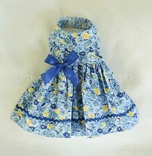 XXXS New Blue Flowered Dog Dress clothes pet apparel clothing Teacup PC Dog®