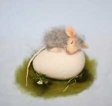 OOAK Needle Felted Miniature  baby mouse on egg Easter handmade gift