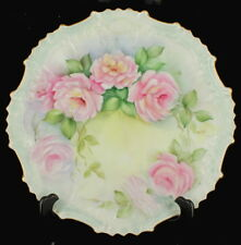 Antique Signed Hand Painted Scalloped Wall Plate Limoges? Pink Roses Blue Hue