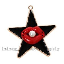 25x Acrylic UV Gold Plated Black Enamel Star Red Lip&Pearls Pendants Crafts L