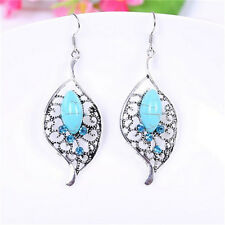 Fashion Women Hollow leaf Turquoise Pendant Tibet silver Hook dangle earrings
