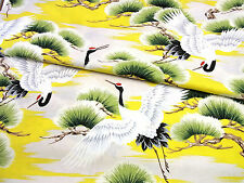 Japanese Fabric_Cotton_Yellow,Crane_Half Yard,#m026