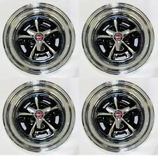 """NEW! Ford Mustang Magnum 500 Wheels 15"""" x 7"""" Set Complete W/ Caps Nuts Spinners"""
