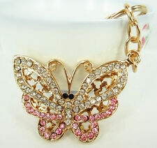 Butterfly Fly Creative Charm Pendent Rhinestone Crystal Purse Bag Key Chain Gift