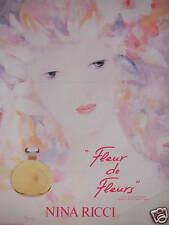 PUBLICITÉ 1980 PARFUM DE NINA RICCI FLEUR DE FLEURS FLACON SIGNÉ LALIQUE