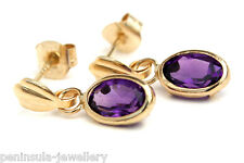 9ct Gold Oval Amethyst Drop earrings Gift Boxed Made in UK