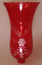 """Cranberry Cut Flower Glass Hurricane Lamp Shade Candle Sconce Light, 5"""" x 10"""""""
