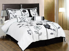 7pcs White Gray Black Embroidered Applique Floral Comforter Set Queen