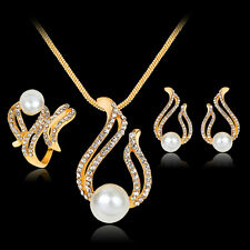 Women's Clear Crystal Pearl Earrings Ring Necklace Set Wedding Bridal Party Gift