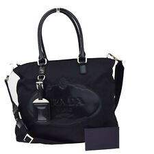 Auth PRADA MILANO Logos 2Way Hand Bag Nylon Leather Black Silver Italy 68R789