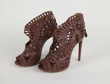"""NIB ALAIA Rosewood Red Leather Silver Beads 5"""" High Heels Shoes 10.5/40.5 $3340"""