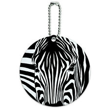 Zebra Face Safari Print Stripes Round Luggage ID Tag Card Suitcase Carry-On