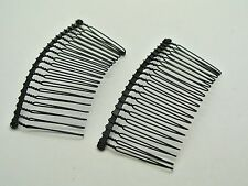 10 Black Metal Hair Side Combs Clips 76X37mm for DIY Craft