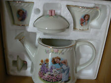 Vintage Shirley Temple Porcelain Teapot - Creamer - Covered Sugar Bowl Set