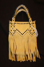 Alfa Fringe Mustard Yellow with Beaded Decor Purse Cross Body Shoulder Bag NWT
