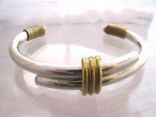 Taxco Mexico 925 Sterling Silver Cuff Bangle Bracelet with Brass