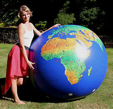 "72"" Inflatable Dark Blue TOPOGRAPHICAL Earth Globe - Huge Heavy Duty Beach Ball"
