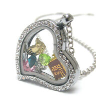 """ORIGAMI-STYLE BIBLE Cross Praying Hands Floating Charm Heart Locket 23 """"Necklace"""