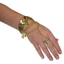 ARABIC #BELLY DANCER DESERT PRINCESS HAND JEWELLERY FANCY DRESS GOLD ACCESSORY