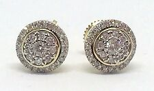 Mens Ladies 10K Yellow Gold 3D Circle Real Diamonds Domed Stud Earrings 0.42 Ct